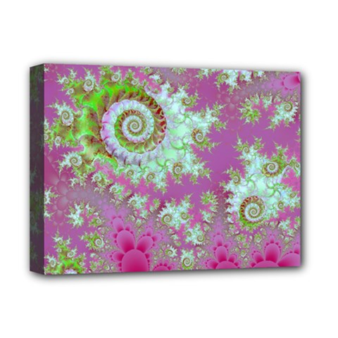 Raspberry Lime Surprise, Abstract Sea Garden  Deluxe Canvas 16  X 12  (framed)  by DianeClancy
