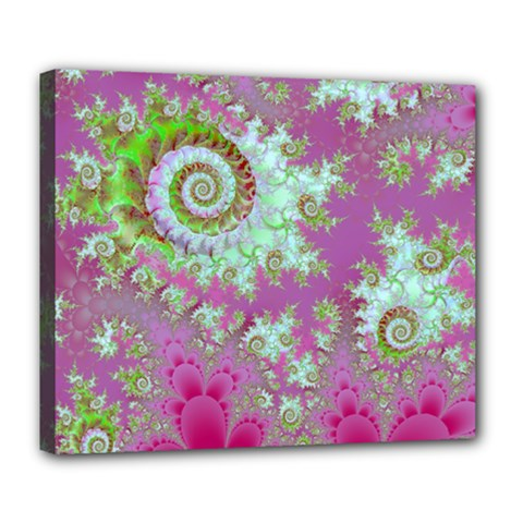 Raspberry Lime Surprise, Abstract Sea Garden  Deluxe Canvas 24  X 20  (framed)