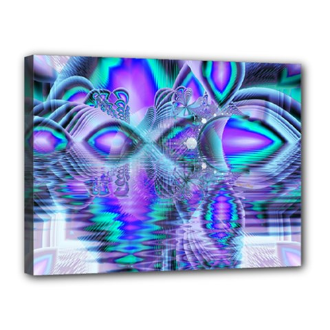 Peacock Crystal Palace Of Dreams, Abstract Canvas 16  X 12  (framed) by DianeClancy