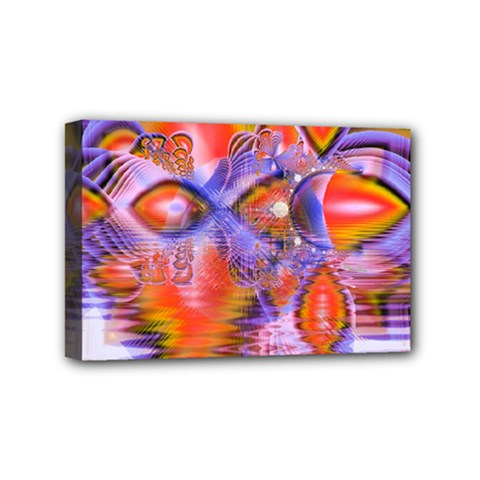 Crystal Star Dance, Abstract Purple Orange Mini Canvas 6  X 4  (framed) by DianeClancy