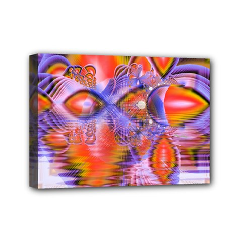 Crystal Star Dance, Abstract Purple Orange Mini Canvas 7  X 5  (framed) by DianeClancy