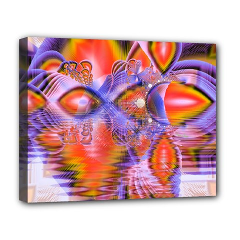 Crystal Star Dance, Abstract Purple Orange Deluxe Canvas 20  X 16  (framed) by DianeClancy