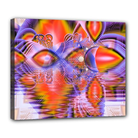 Crystal Star Dance, Abstract Purple Orange Deluxe Canvas 24  X 20  (framed) by DianeClancy
