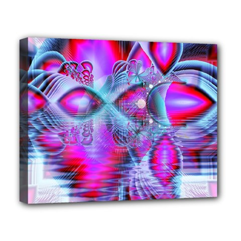 Crystal Northern Lights Palace, Abstract Ice  Deluxe Canvas 20  X 16  (framed) by DianeClancy