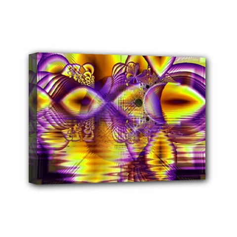 Golden Violet Crystal Palace, Abstract Cosmic Explosion Mini Canvas 7  X 5  (framed) by DianeClancy