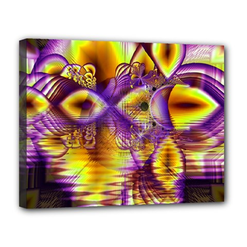 Golden Violet Crystal Palace, Abstract Cosmic Explosion Canvas 14  X 11  (framed) by DianeClancy