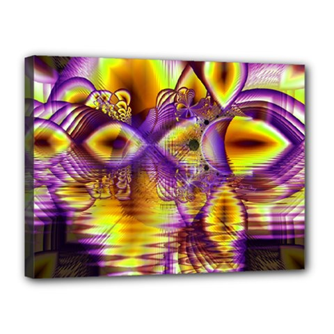 Golden Violet Crystal Palace, Abstract Cosmic Explosion Canvas 16  X 12  (framed) by DianeClancy