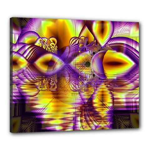 Golden Violet Crystal Palace, Abstract Cosmic Explosion Canvas 24  X 20  (framed) by DianeClancy
