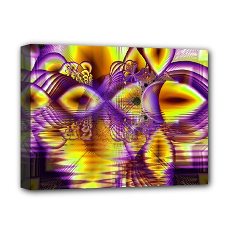 Golden Violet Crystal Palace, Abstract Cosmic Explosion Deluxe Canvas 16  X 12  (framed)  by DianeClancy