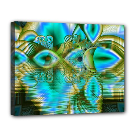 Crystal Gold Peacock, Abstract Mystical Lake Canvas 14  X 11  (framed) by DianeClancy