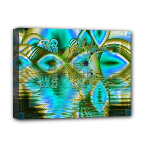 Crystal Gold Peacock, Abstract Mystical Lake Deluxe Canvas 16  X 12  (framed)  by DianeClancy