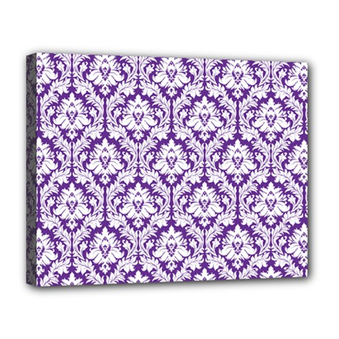White On Purple Damask Canvas 14  X 11  (framed)