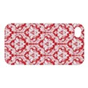 White On Red Damask Apple iPhone 4/4S Premium Hardshell Case View1