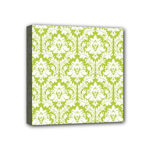 White On Spring Green Damask Mini Canvas 4  X 4  (framed) by Zandiepants