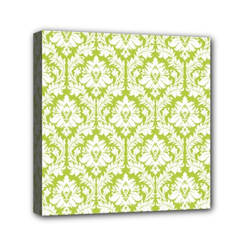 White On Spring Green Damask Mini Canvas 6  X 6  (framed) by Zandiepants