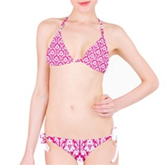 Hot Pink Damask Pattern Bikini Set by Zandiepants