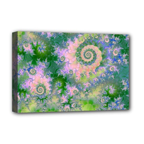 Rose Apple Green Dreams, Abstract Water Garden Deluxe Canvas 18  X 12  (framed) by DianeClancy