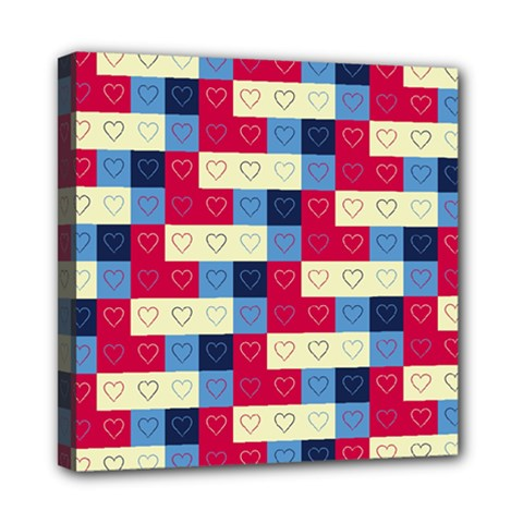 Hearts Mini Canvas 8  X 8  (framed) by Siebenhuehner