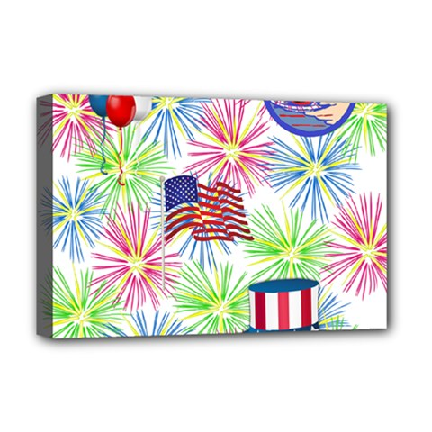 Patriot Fireworks Deluxe Canvas 18  X 12  (framed) by StuffOrSomething