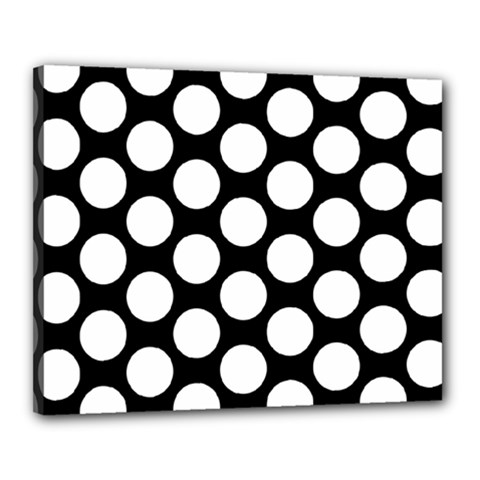 Black And White Polkadot Canvas 20  X 16  (framed) by Zandiepants