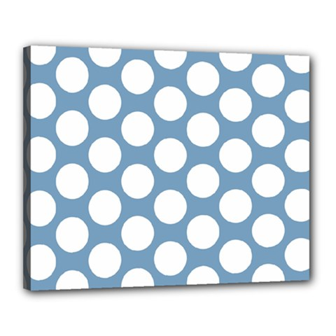 Blue Polkadot Canvas 20  X 16  (framed) by Zandiepants