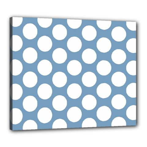 Blue Polkadot Canvas 24  X 20  (framed) by Zandiepants