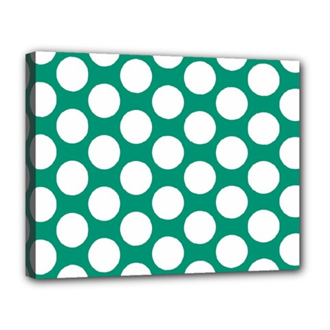 Emerald Green Polkadot Canvas 14  X 11  (framed) by Zandiepants