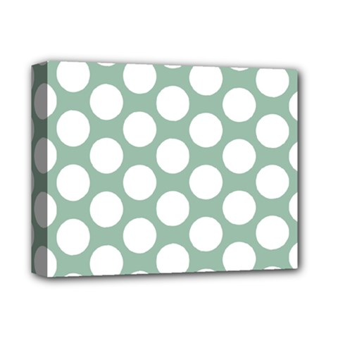 Jade Green Polkadot Deluxe Canvas 14  X 11  (framed) by Zandiepants
