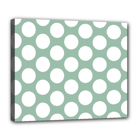 Jade Green Polkadot Deluxe Canvas 24  X 20  (framed) by Zandiepants