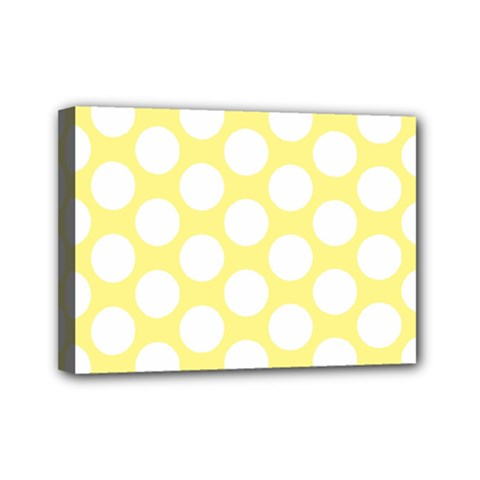 Yellow Polkadot Mini Canvas 7  X 5  (framed) by Zandiepants