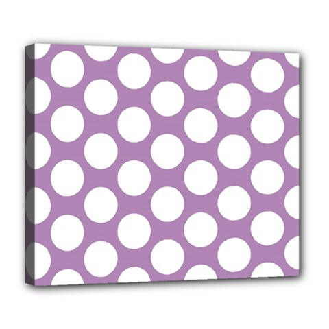 Lilac Polkadot Deluxe Canvas 24  X 20  (framed) by Zandiepants
