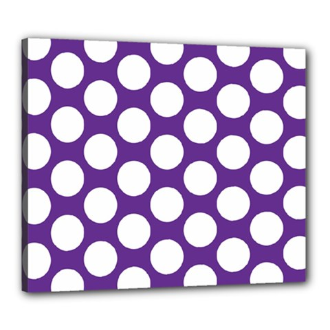 Purple Polkadot Canvas 24  X 20  (framed) by Zandiepants