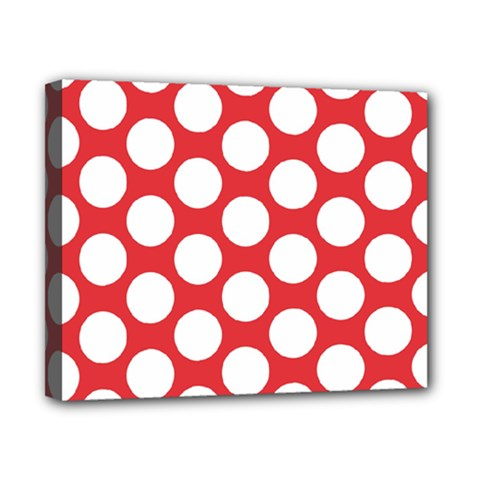 Red Polkadot Canvas 10  X 8  (framed)