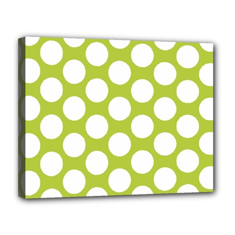 Spring Green Polkadot Canvas 14  X 11  (framed) by Zandiepants