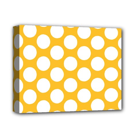 Sunny Yellow Polkadot Deluxe Canvas 14  X 11  (framed) by Zandiepants