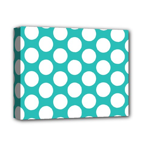 Turquoise Polkadot Pattern Deluxe Canvas 14  X 11  (framed) by Zandiepants
