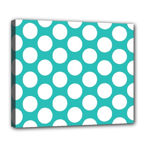 Turquoise Polkadot Pattern Deluxe Canvas 24  X 20  (framed) by Zandiepants