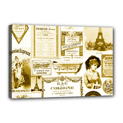Parisgoldentower Canvas 18  X 12  (framed) by misskittys