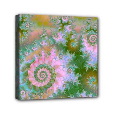 Rose Forest Green, Abstract Swirl Dance Mini Canvas 6  X 6  (framed) by DianeClancy