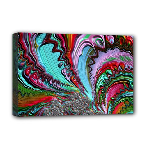 Special Fractal 02 Red Deluxe Canvas 18  X 12  (framed) by ImpressiveMoments