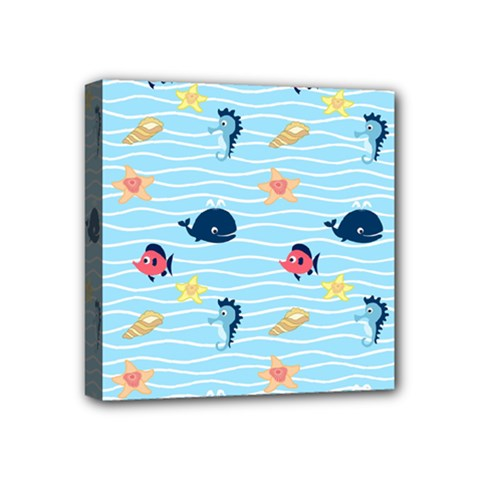 Fun Fish Of The Ocean Mini Canvas 4  X 4  (framed) by StuffOrSomething