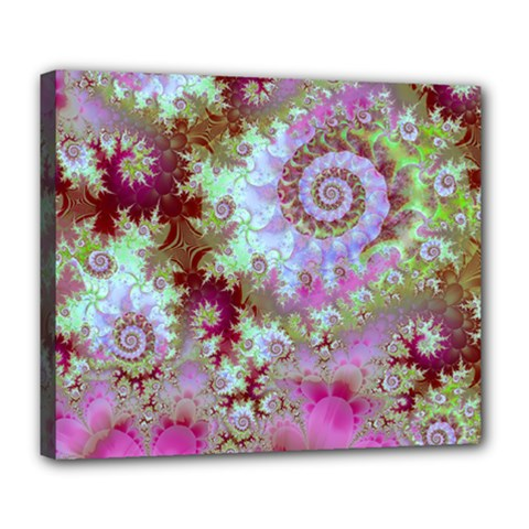 Raspberry Lime Delight, Abstract Ferris Wheel Deluxe Canvas 24  X 20  (stretched) by DianeClancy