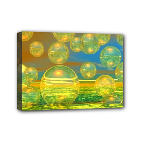 Golden Days, Abstract Yellow Azure Tranquility Mini Canvas 7  X 5  (framed) by DianeClancy