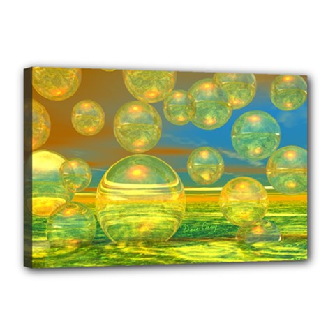 Golden Days, Abstract Yellow Azure Tranquility Canvas 18  X 12  (framed) by DianeClancy