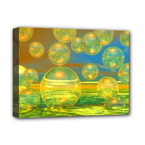 Golden Days, Abstract Yellow Azure Tranquility Deluxe Canvas 16  X 12  (framed)  by DianeClancy
