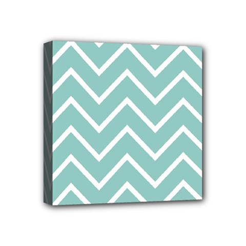 Blue And White Chevron Mini Canvas 4  X 4  (framed) by zenandchic