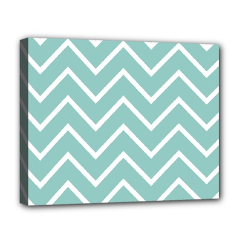 Blue And White Chevron Deluxe Canvas 20  X 16  (framed)