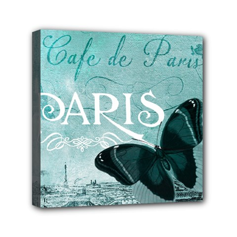 Paris Butterfly Mini Canvas 6  X 6  (framed)