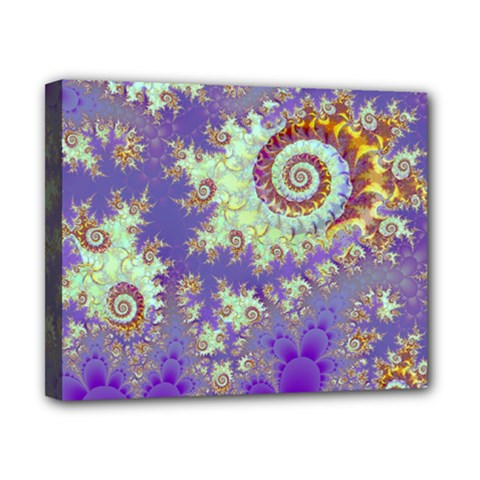 Sea Shell Spiral, Abstract Violet Cyan Stars Canvas 10  X 8  (framed) by DianeClancy