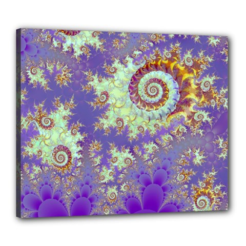 Sea Shell Spiral, Abstract Violet Cyan Stars Canvas 24  X 20  (framed) by DianeClancy